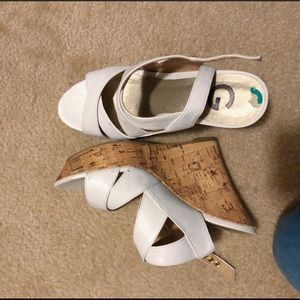 Guess White Heels
